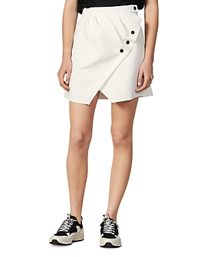 Sandro Zoelle Asymmetric Button-Detail Mini Skirt