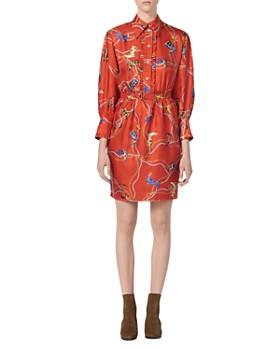 402afcd6f Sandro - Bootsy Western Boot-Print Silk Dress ...