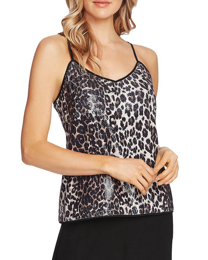 VINCE CAMUTO - Sequined Leopard Print Cami