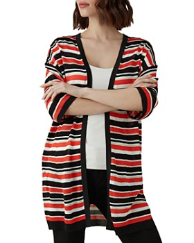 KAREN MILLEN - Striped Open-Front Cardigan