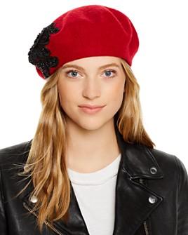 August Hat Company - Melton Sparkly Rose Applique Beret
