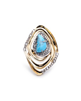 Alexis Bittar - Crystal & Simulated Turquoise Cocktail Ring