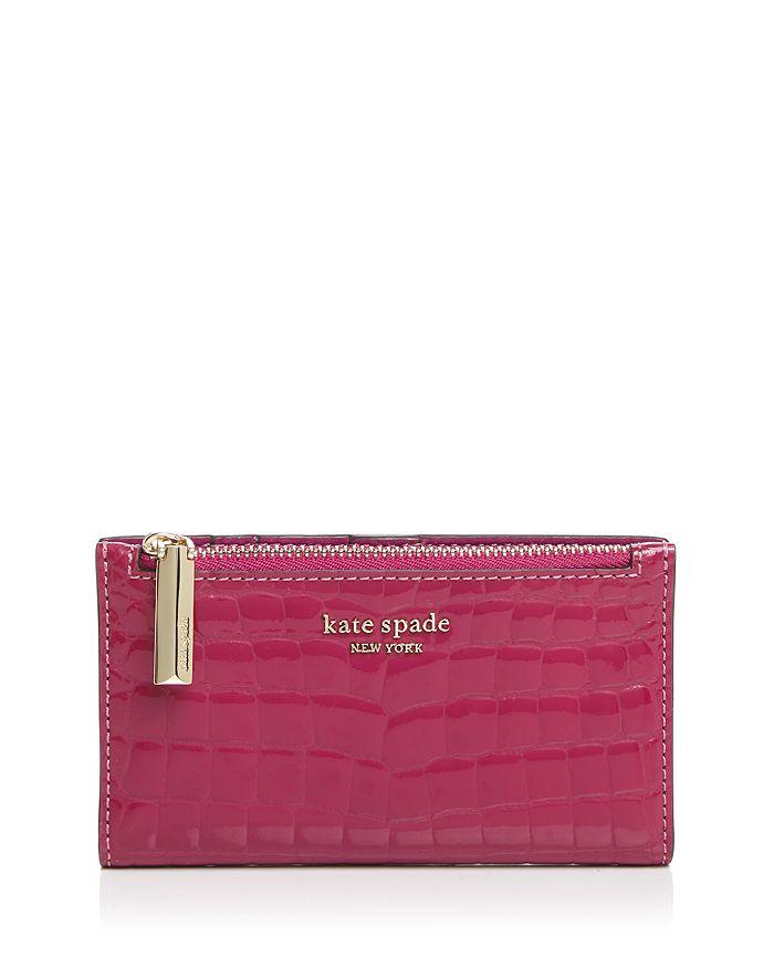 kate spade new york - Sylvia Croc-Embossed Slim Bi-Fold Wallet