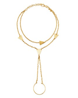 Moon & Meadow - 14K Yellow Gold Triangle Hand Chain Bracelet - 100% Exclusive
