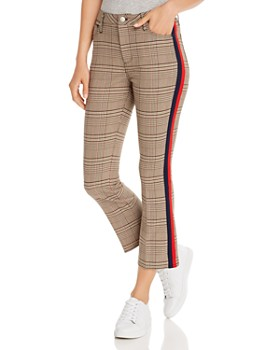 AQUA - Striped-Trim Plaid Ponte Pants - 100% Exclusive