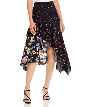 AQUA - Mixed-Print Handkerchief-Hem Skirt - 100% Exclusive