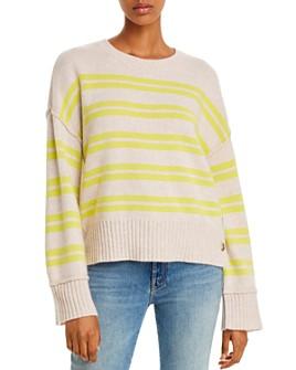 AQUA - Side-Button Striped Cashmere Sweater - 100% Exclusive