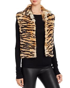 Adrienne Landau - Tiger-Print Rabbit Fur Vest