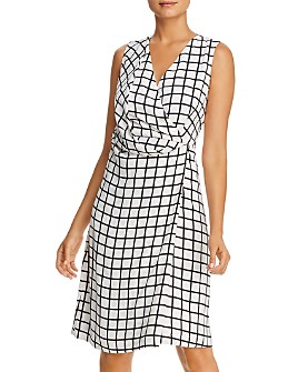 Kenneth Cole - Printed Faux Wrap Dress