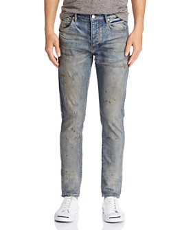 Purple Brand - Oil-Splashed Skinny Fit Jeans in Indigo Oil