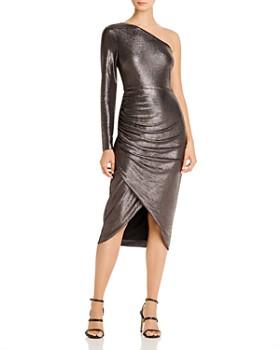 Aidan by Aidan Mattox - Ruched Metallic One-Shoulder Dress