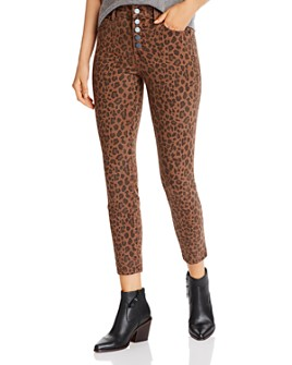 Level 99 - Heidi Button-Fly Skinny Jeans in Spiced Leopard
