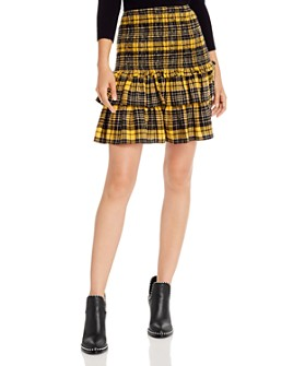 AQUA - Smocked Plaid Flannel Skirt - 100% Exclusive