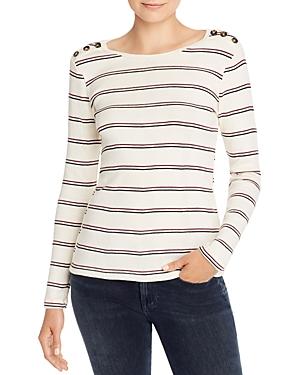 Frame Edie Button Detail Striped Sweater