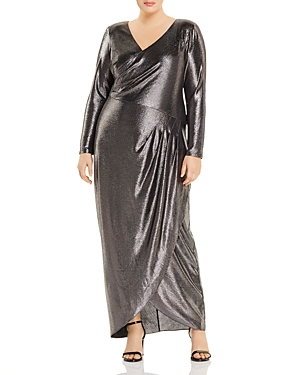 Vintage Dresses Australia- 20s, 30s, 40s, 50s, 60s, 70s Adrianna Papell Plus Metallic V-Neck Gown AUD 357.93 AT vintagedancer.com