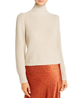 Whistles - Cotton Puff-Shoulder Turtleneck Sweater - 100% Exclusive