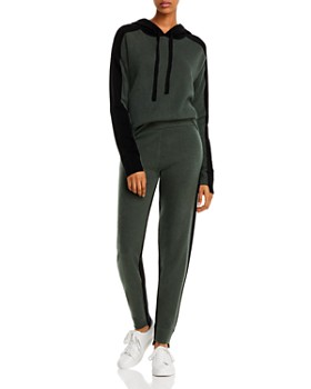 Minnie Rose - Minnie Rose Color-Block Cashmere Hooded Sweater & Jogger Pants