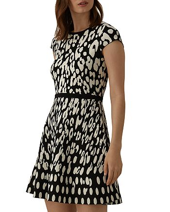 KAREN MILLEN - Leopard Jacquard Fit-and-Flare Dress