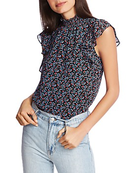 1.STATE - Floral-Print Flutter-Sleeve Top