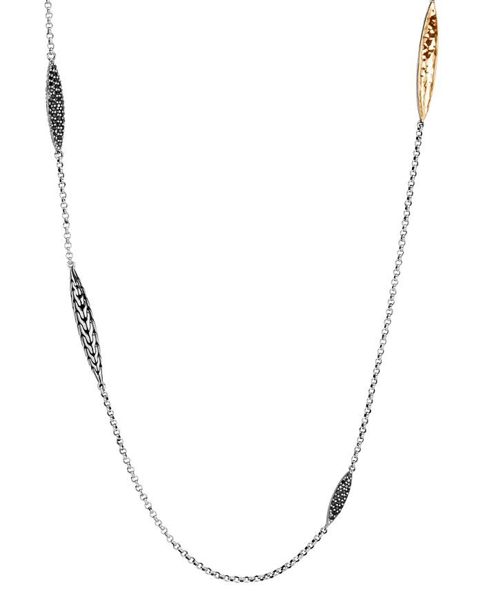 John Hardy STERLING SILVER & 18K YELLOW GOLD CLASSIC CHAIN BLACK SAPPHIRE & BLACK SPINEL SAUTOIR NECKLACE, 36