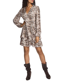 1.STATE - Ruffled Snakeskin-Print Dress