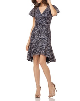 Carmen Marc Valvo Infusion - Embroidered Flounce Dress