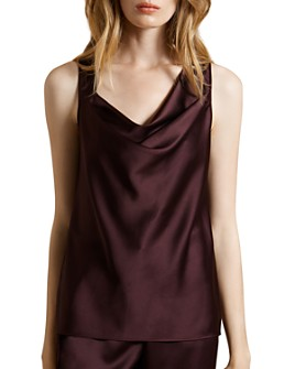 HALSTON - Satin Asymmetric Cowl-Neck Top