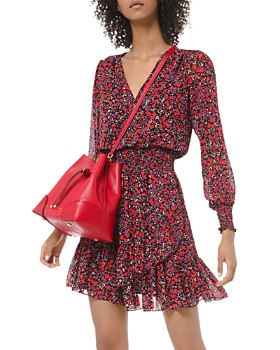 MICHAEL Michael Kors - Smocked Ruffled Botanical-Print Dress