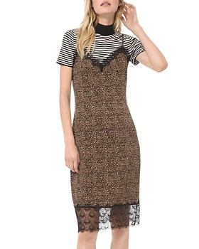 MICHAEL Michael Kors - Animal-Print Lace-Detail Slip Dress