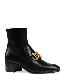 Gucci - Women's Leather Horsebit Chain Boots