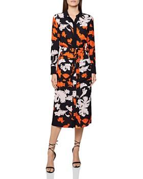 REISS - Cathleen Floral-Print Midi Shirt Dress