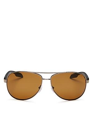 Prada Sunglasses MEN'S POLARIZED BROW BAR AVIATOR SUNGLASSES, 62MM