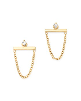 Zoë Chicco - 14K Yellow Gold Diamond Bar Chain Drop Earrings