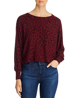 Red Haute - Leopard Print Cropped Sweatshirt