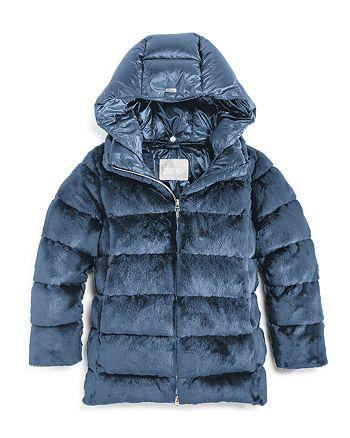 Herno - Girls' Faux Fur Puffer Jacket - Big Kid