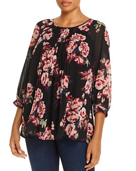 Daniel Rainn Plus - Pleated Floral Print Top