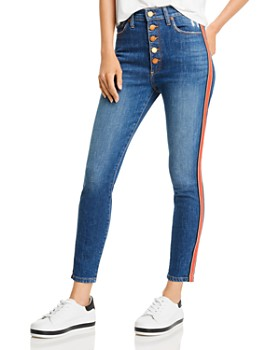 Alice and Olivia - Good High-Rise Exposed-Button Skinny Jeans in Glow Up