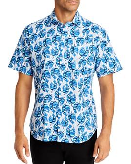 TailorByrd - Sarell Short-Sleeve Frond-Print Regular Fit Shirt