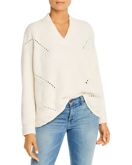 Sioni - Pointelle V-Neck Sweater