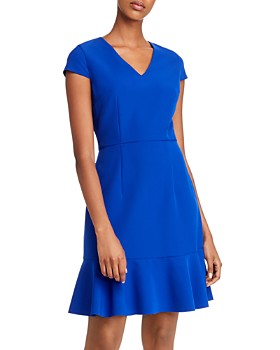 Betsey Johnson - Flounced Hem V-Neck Dress