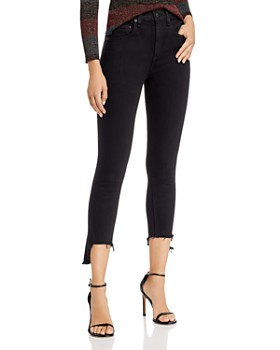 rag & bone - High-Rise Asymmetric Ankle Skinny Jeans in Black Hampton