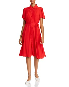 nanette Nanette Lepore - Pintucked Flutter-Sleeve Dress