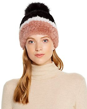 Maximilian Furs - Mink Fur Knit Hat with Fox Fur Pom-Pom - 100% Exclusive