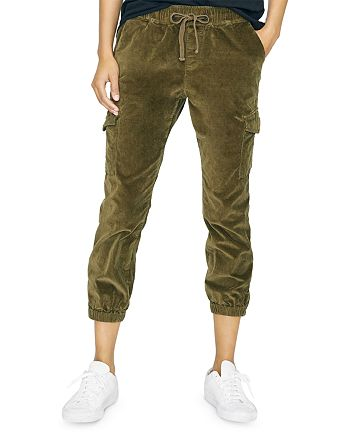 Sanctuary - Cropped Velvet Cargo Jogger Pants