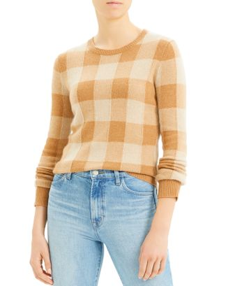 cashmere-plaid-crewneck-sweater by theory