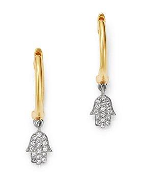 Meira T - 14K Yellow & White Gold Hamsa Drop Earrings with Diamonds