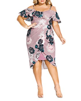 City Chic Plus - Floral Quartz Off-the-Shoulder Dress