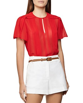 REISS - Millie Pleated Flutter-Sleeve Top