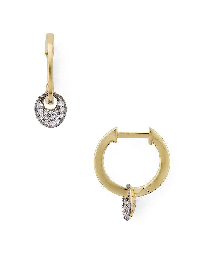 Nadri - Small Disc Drop Earrings in 18K Gold & Ruthenium Plated Sterling Silver