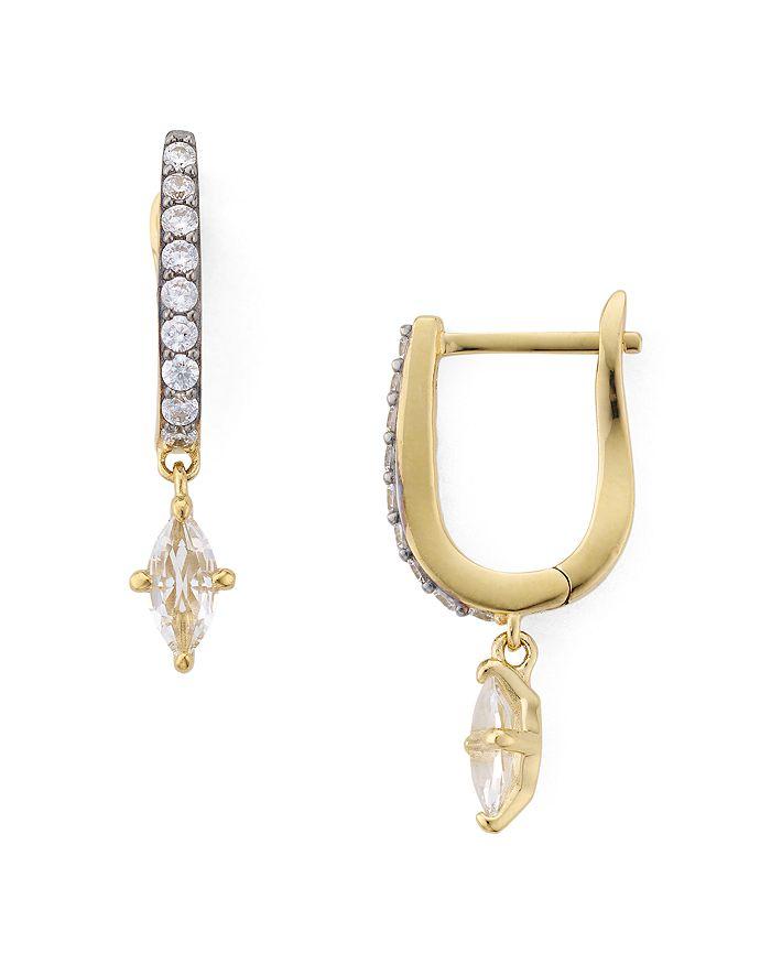 Nadri - White Topaz Drop Huggie Hoop Earrings in 18K Gold or Rhodium Plated Sterling Silver
